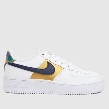 Nike White & Gold Air Force 1 Lv8 Girls Youth
