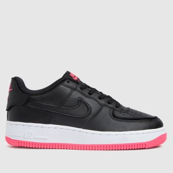 Nike black & pink air force 1/1 trainers youth