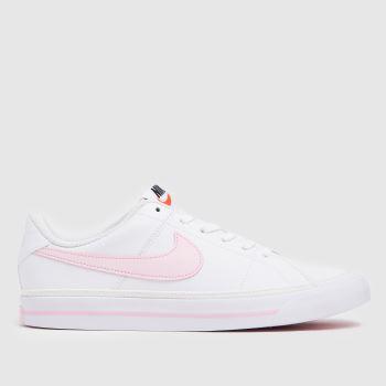 Nike White & Pink Court Legacy Girls Youth