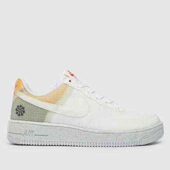 Nike White & Orange Air Force 1 Crater M272 Girls Youth