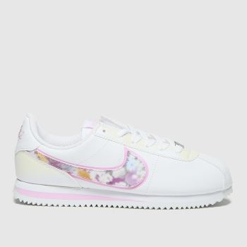 Nike White & Pink Cortez Basic Se Girls Youth