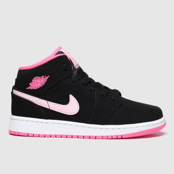 Nike Jordan Black & pink 1 Mid Girls Youth