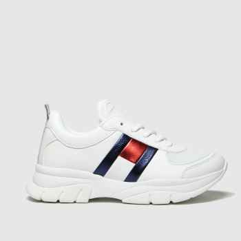 Tommy Hilfiger White & Navy Lace Up Sneaker Girls Youth