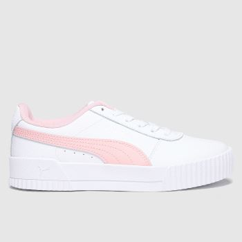 PUMA White & Pink Carina L Girls Youth