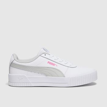 PUMA White & grey Carina L Girls Youth