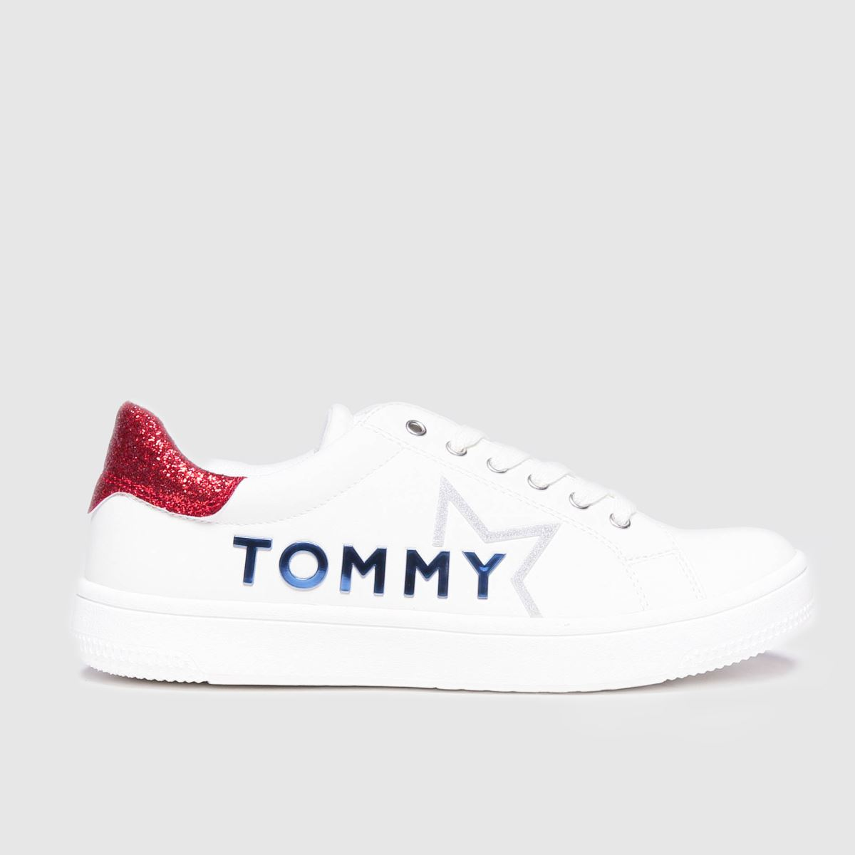 Tommy Hilfiger White & Red Low Cut Lace-up Sneaker Trainers Yout