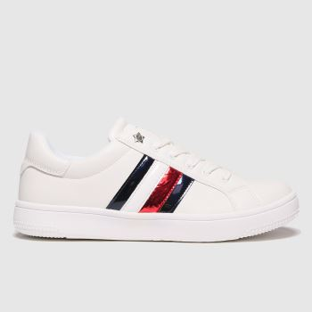 Tommy Hilfiger White & Navy Low Cut Lace-up Sneaker Girls Youth
