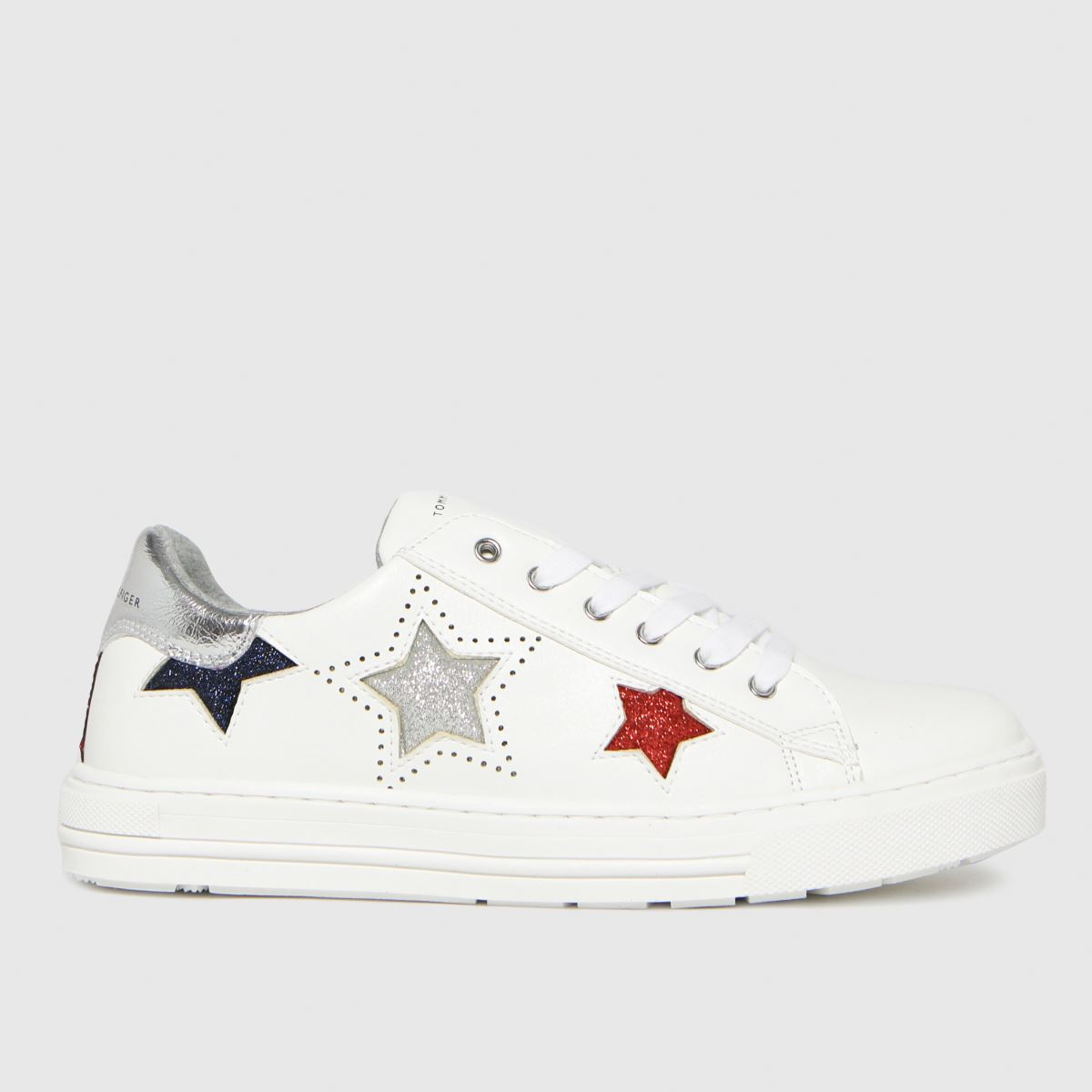 Tommy Hilfiger White & Silver Low Cut Lace-up Sneaker Trainers Y
