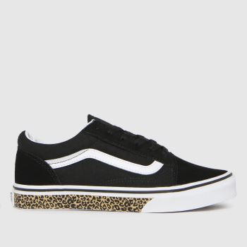 Vans Black & White Old Skool Leopard Girls Youth