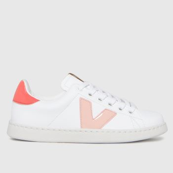 victoria White & Pink Tenis Trainer Girls Youth