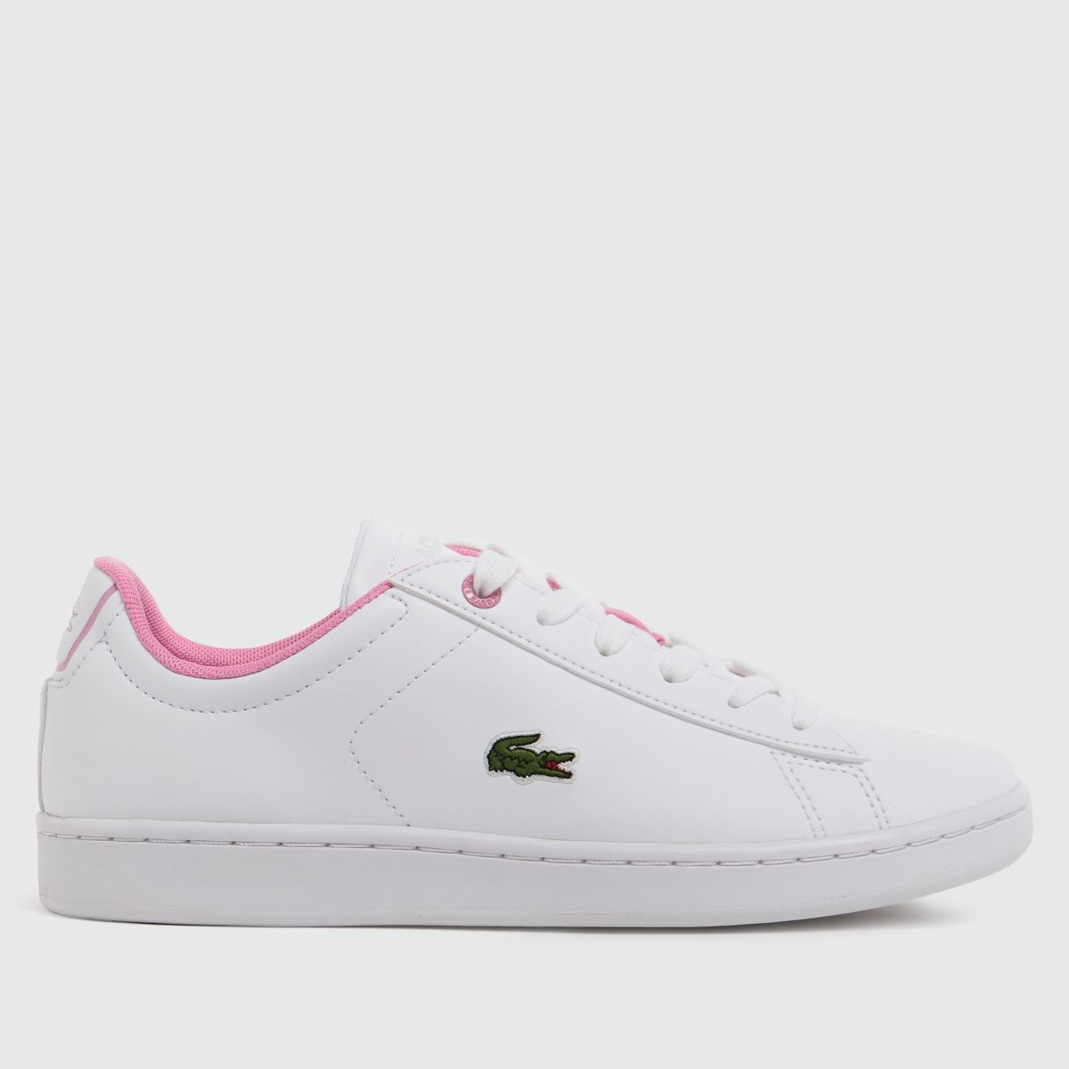 Lacoste White & Pink Carnaby Evo Trainers Youth