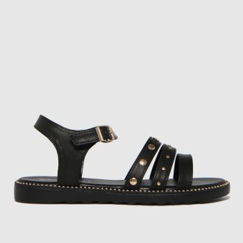 schuh Black Treble Stud Strap Girls Youth